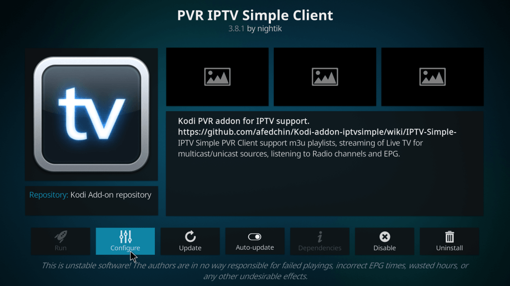 Configurer PVR IPTV Simple Client